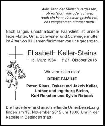 Traueranzeigen Von Elisabeth Keller Steins Aachen Gedenkt