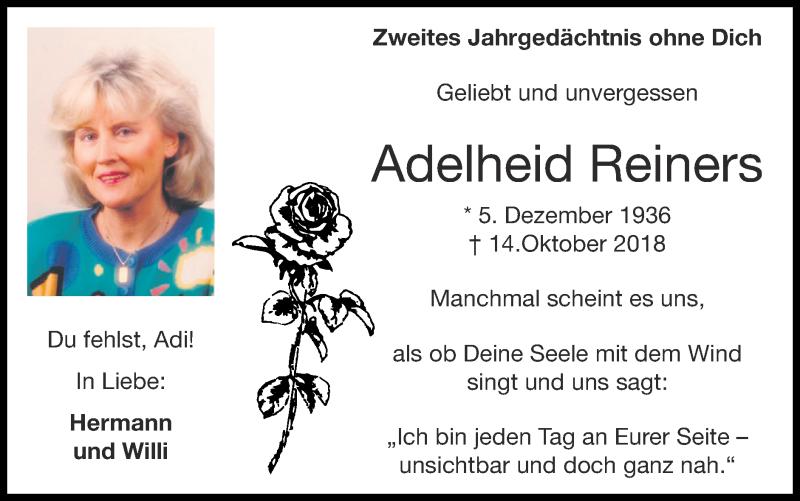 Traueranzeige für Adelheid Reiners vom 18.10.2020 aus Zeitung am Sonntag
