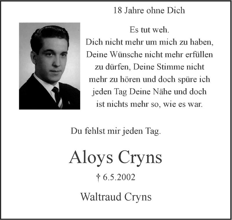 Traueranzeige für Aloys Cryns vom 25.10.2020 aus Zeitung am Sonntag