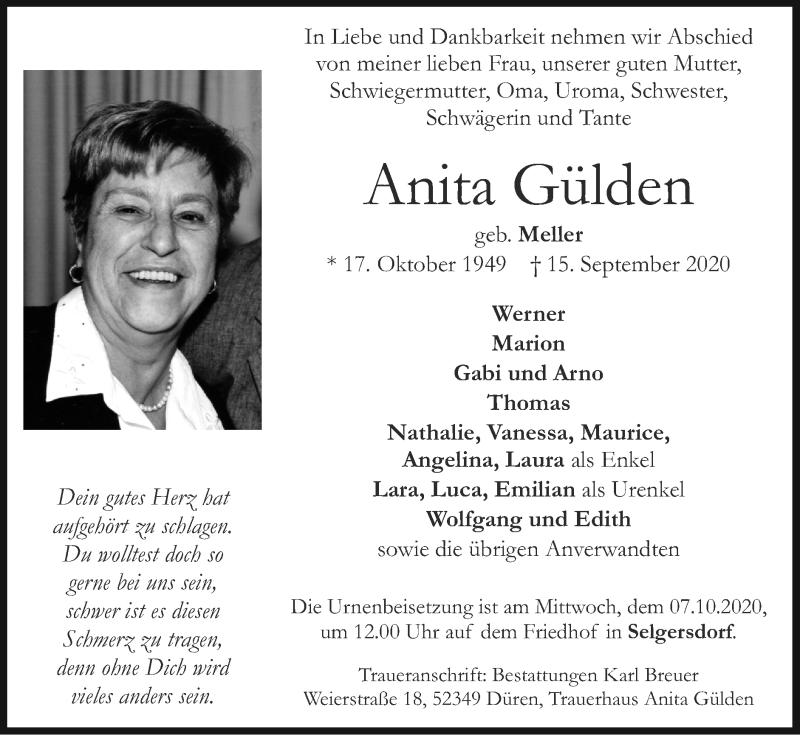 Traueranzeige für Anita Gülden vom 04.10.2020 aus Zeitung am Sonntag