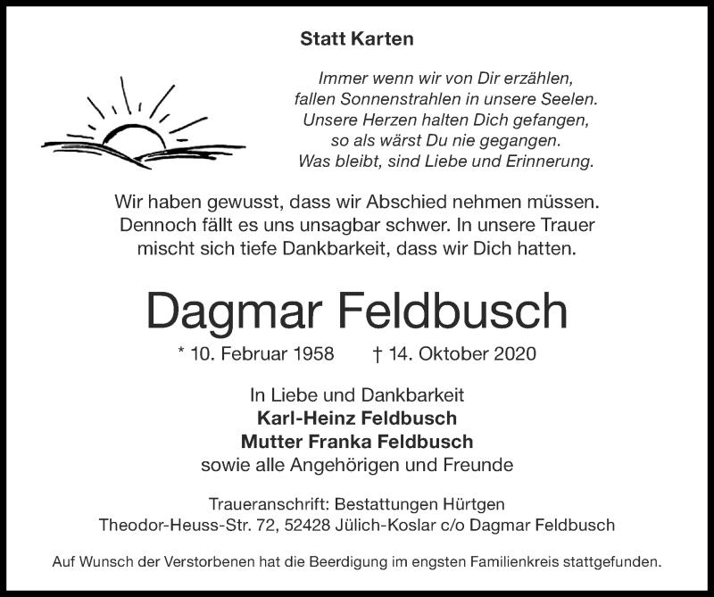 Traueranzeige für Dagmar Feldbusch vom 25.10.2020 aus Zeitung am Sonntag
