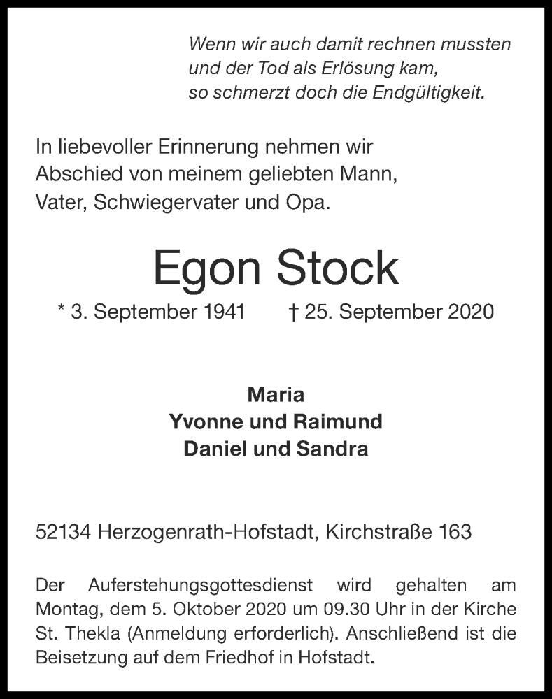Traueranzeige für Egon Stock vom 04.10.2020 aus Zeitung am Sonntag