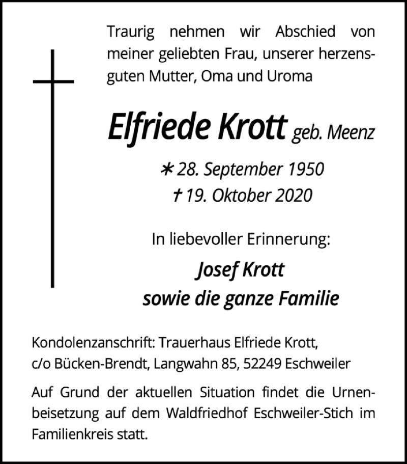 Traueranzeige für Elfriede Krott vom 25.10.2020 aus Zeitung am Sonntag