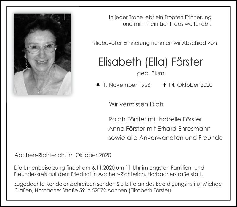 Traueranzeige für Elisabeth Förster vom 31.10.2020 aus Aachener Zeitung / Aachener Nachrichten
