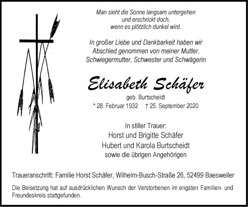 Traueranzeige für Elisabeth Schäfer vom 18.10.2020 aus Zeitung am Sonntag