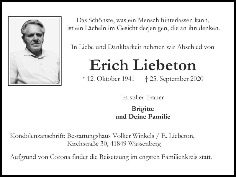 Traueranzeige für Erich Liebeton vom 04.10.2020 aus Zeitung am Sonntag