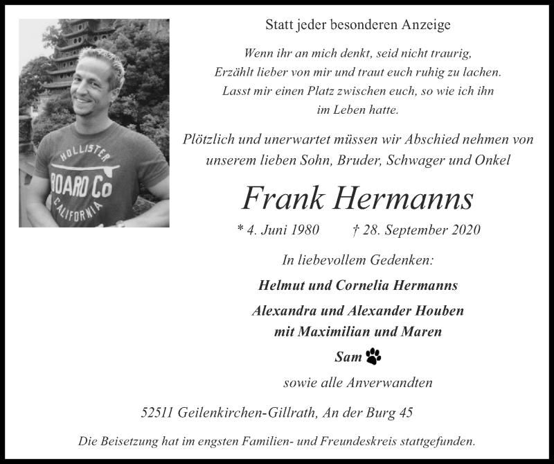 Traueranzeige für Frank Hermanns vom 11.10.2020 aus Zeitung am Sonntag