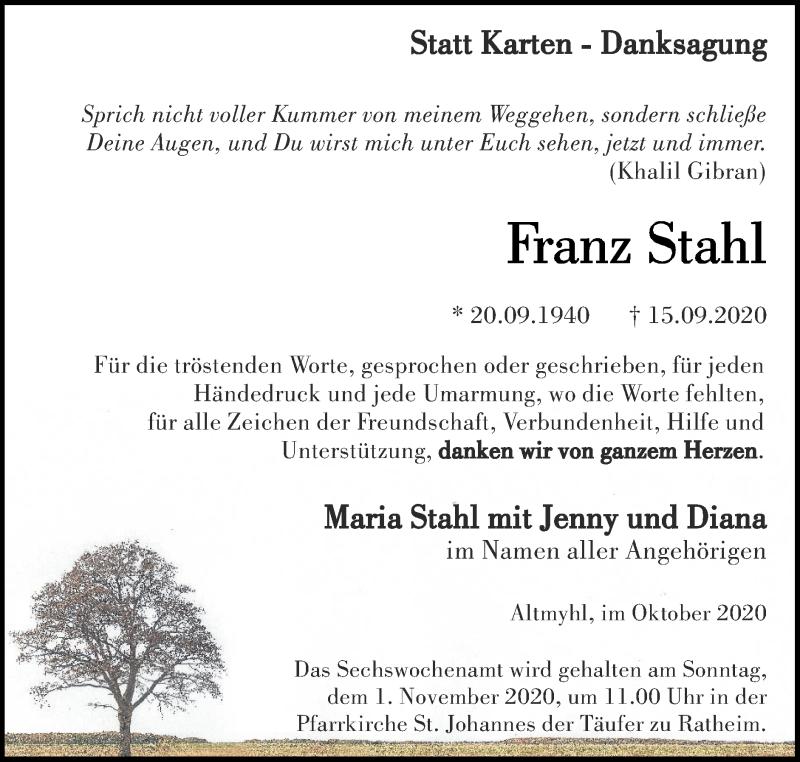 Traueranzeige für Franz Stahl vom 25.10.2020 aus Zeitung am Sonntag