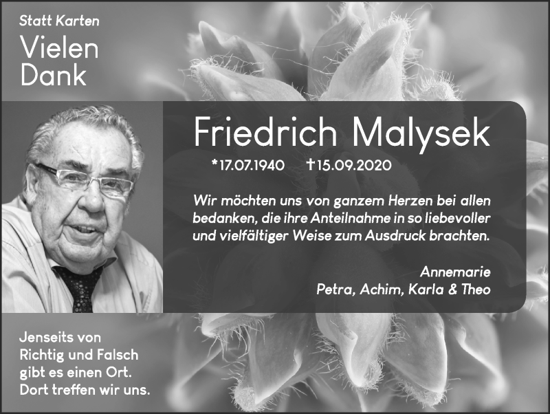 Traueranzeige für Friedrich Malysek vom 11.10.2020 aus Zeitung am Sonntag