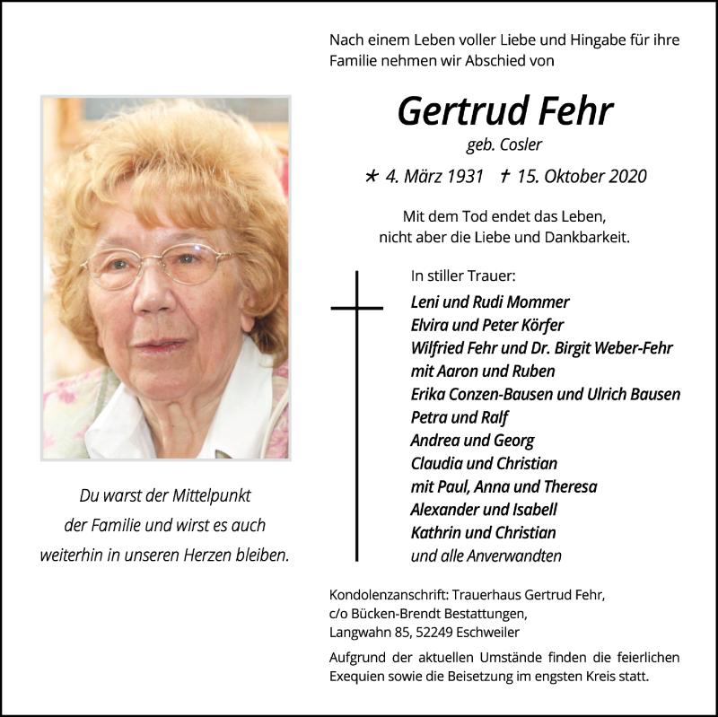Traueranzeige für Gertrud Fehr vom 25.10.2020 aus Zeitung am Sonntag