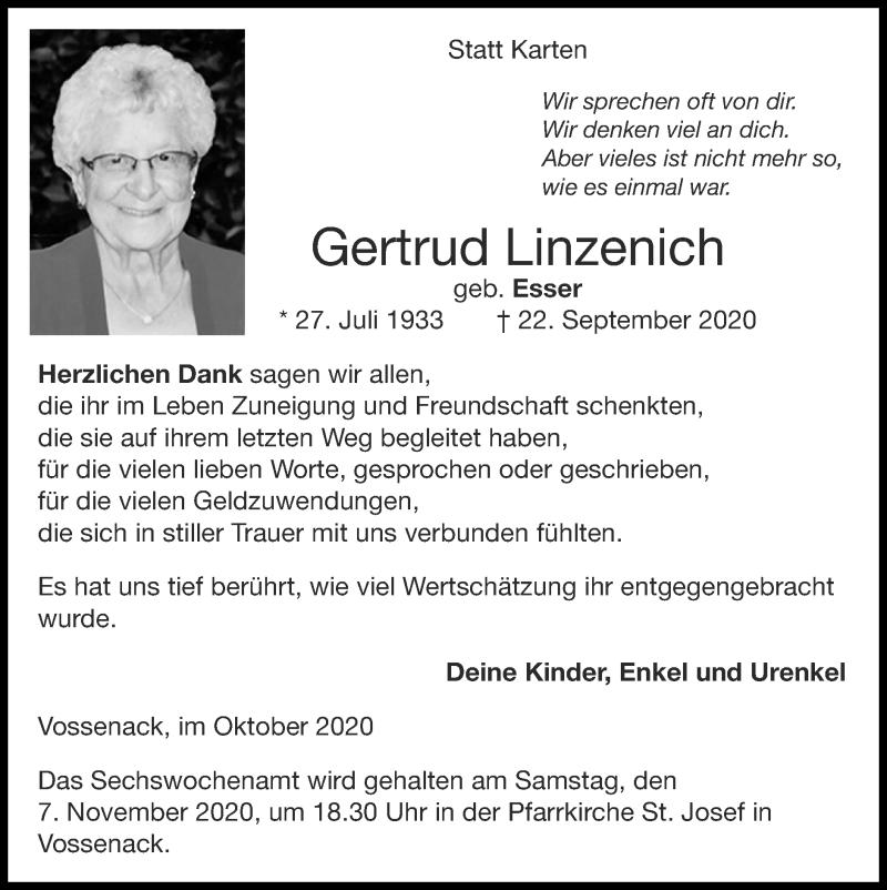 Traueranzeige für Gertrud Linzenich vom 25.10.2020 aus Zeitung am Sonntag