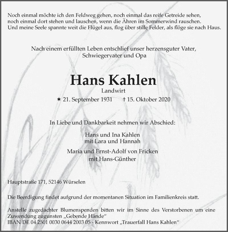 Traueranzeige für Hans Kahlen vom 20.10.2020 aus Aachener Zeitung / Aachener Nachrichten