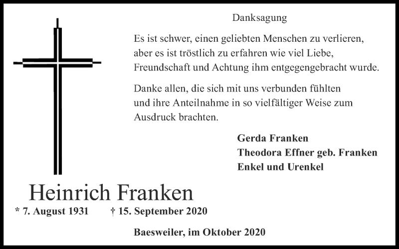 Traueranzeige für Heinrich Franken vom 01.11.2020 aus Zeitung am Sonntag