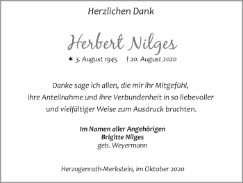Traueranzeige von Herbert Nilges von Zeitung am Sonntag