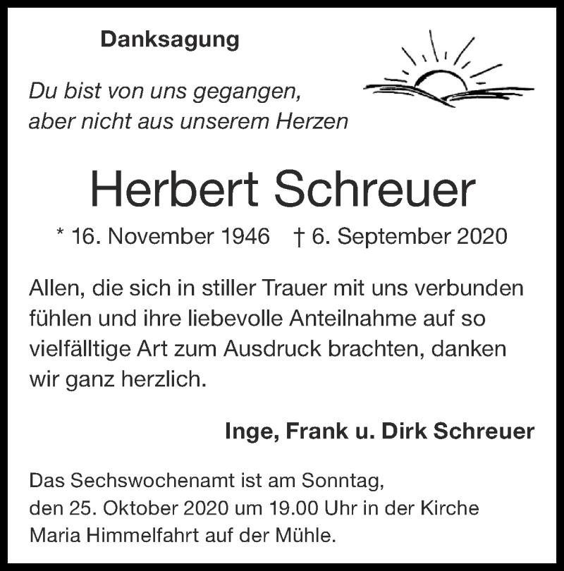 Traueranzeige für Herbert Schreuer vom 18.10.2020 aus Zeitung am Sonntag