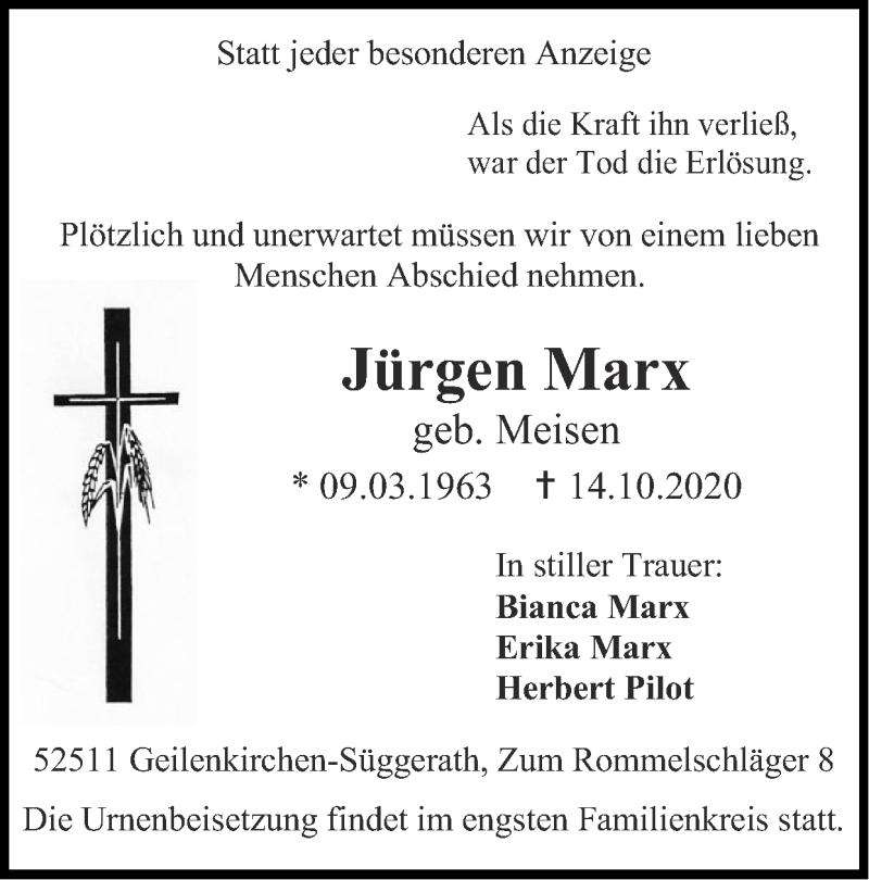 Traueranzeige für Jürgen Marx vom 18.10.2020 aus Zeitung am Sonntag