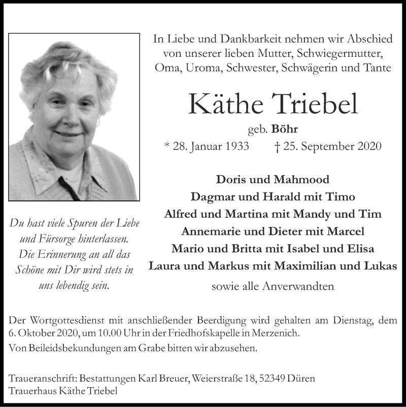 Traueranzeige für Käthe Triebel vom 04.10.2020 aus Zeitung am Sonntag