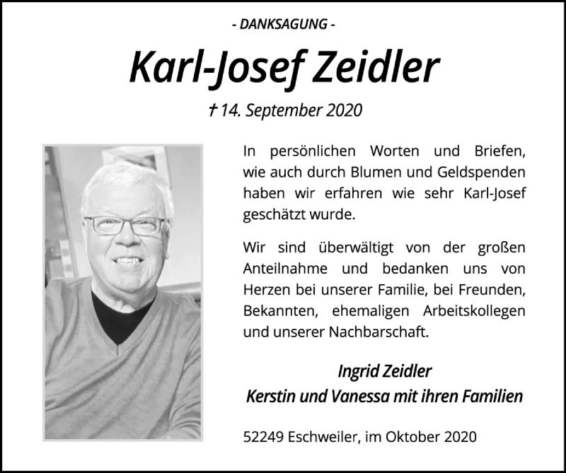 Traueranzeige für Karl Josef Zeidler vom 18.10.2020 aus Zeitung am Sonntag