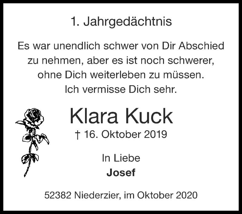 Traueranzeige für Klara Kuck vom 11.10.2020 aus Zeitung am Sonntag