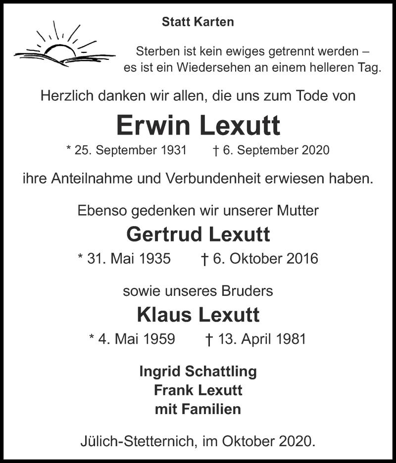 Traueranzeige für Klaus Lexutt vom 18.10.2020 aus Zeitung am Sonntag