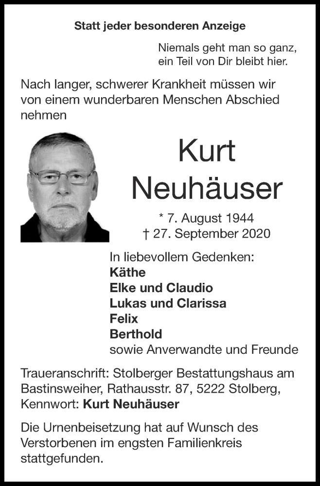 Traueranzeige für Kurt Neuhäuser vom 18.10.2020 aus Zeitung am Sonntag