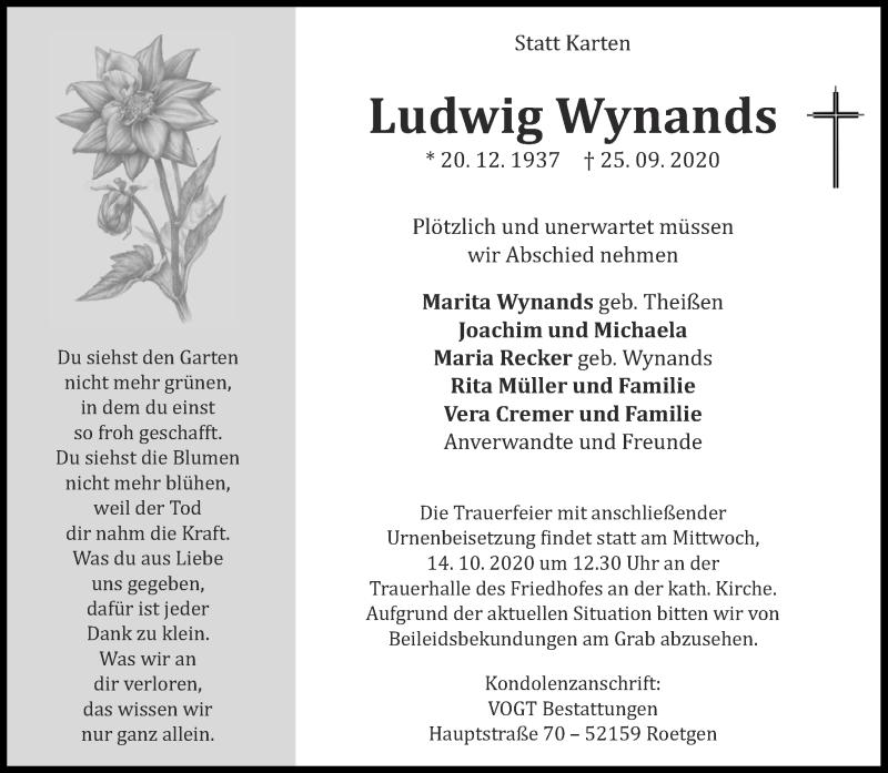Traueranzeige für Ludwig Wynands vom 03.10.2020 aus Aachener Zeitung / Aachener Nachrichten