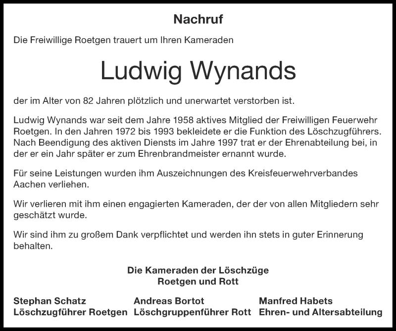 Traueranzeige für Ludwig Wynands vom 18.10.2020 aus Zeitung am Sonntag