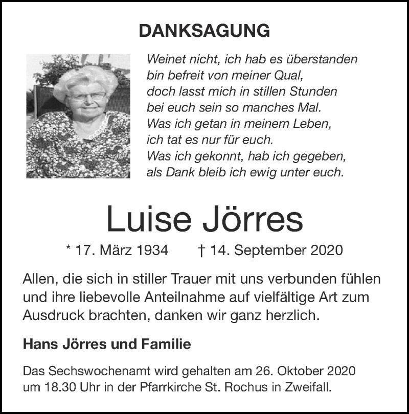 Traueranzeige für Luise Jörres vom 25.10.2020 aus Zeitung am Sonntag