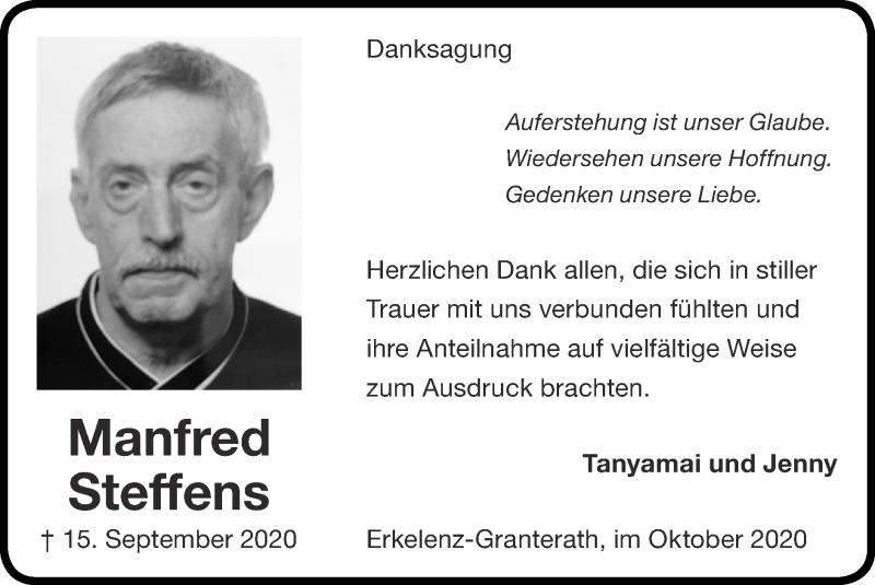Traueranzeige für Manfred Steffens vom 25.10.2020 aus Zeitung am Sonntag