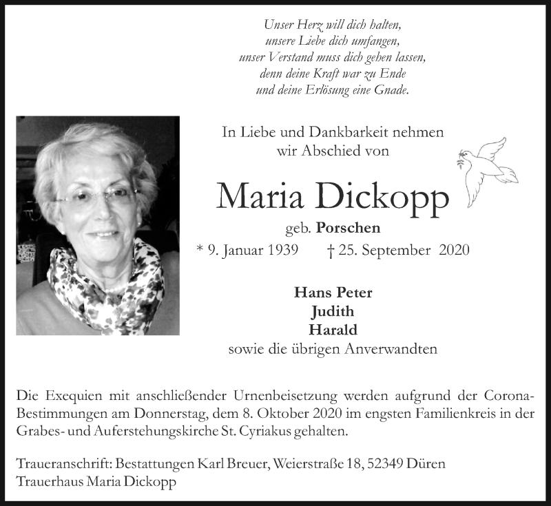 Traueranzeige für Maria Dickopp vom 04.10.2020 aus Zeitung am Sonntag