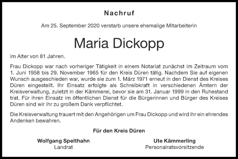 Traueranzeige für Maria Dickopp vom 11.10.2020 aus Zeitung am Sonntag