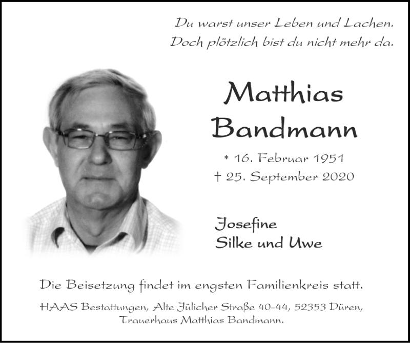 Traueranzeige für Matthias Bandmann vom 11.10.2020 aus Zeitung am Sonntag