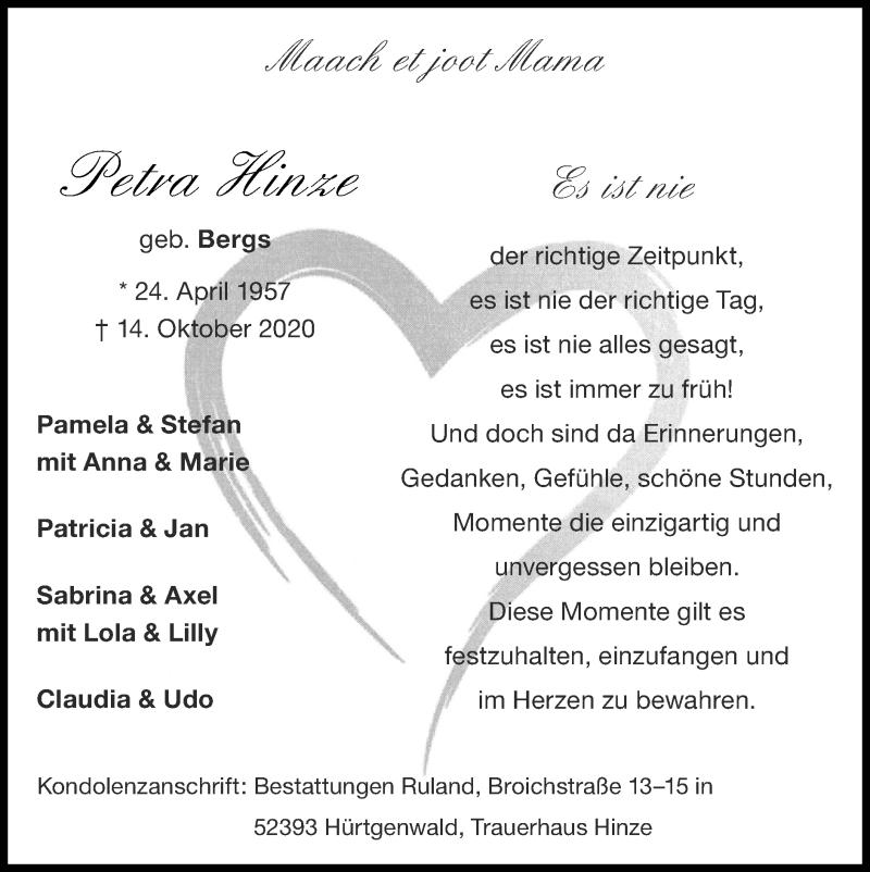 Traueranzeige für Petra Hinze vom 25.10.2020 aus Zeitung am Sonntag