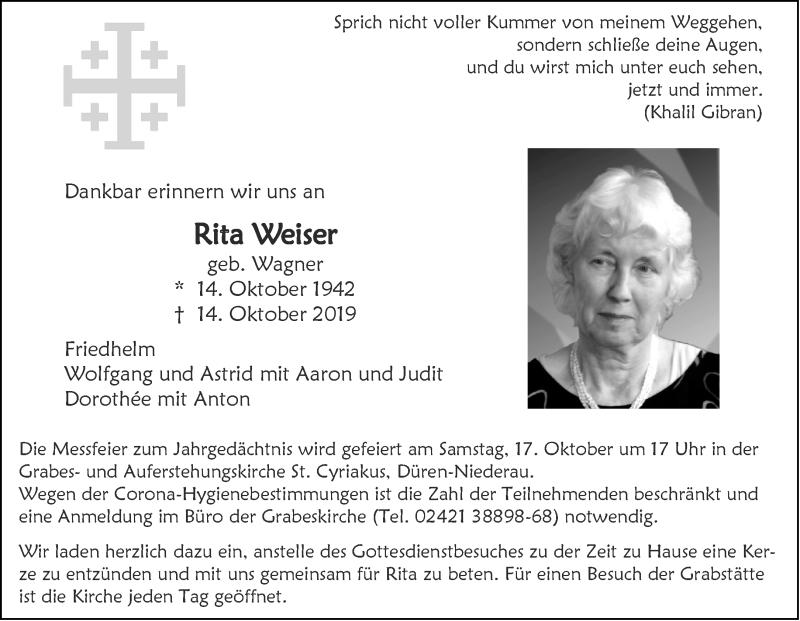 Traueranzeige für Rita Weiser vom 10.10.2020 aus Aachener Zeitung / Aachener Nachrichten