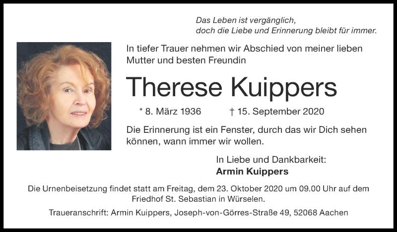 Traueranzeige für Therese Kuippers vom 18.10.2020 aus Zeitung am Sonntag