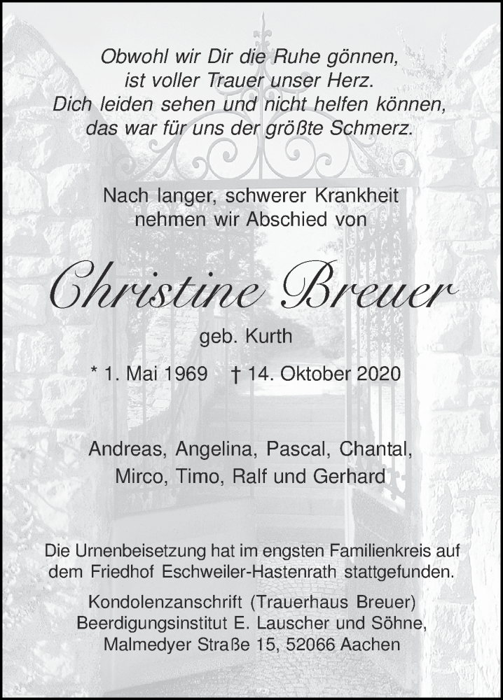 Traueranzeige für Christine Breuer vom 08.11.2020 aus Zeitung am Sonntag