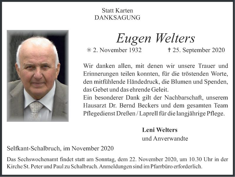 Traueranzeige für Eugen Welters vom 15.11.2020 aus Zeitung am Sonntag