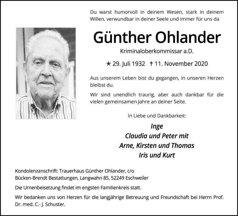 Traueranzeige für Günther Ohlander vom 21.11.2020 aus Aachener Zeitung / Aachener Nachrichten