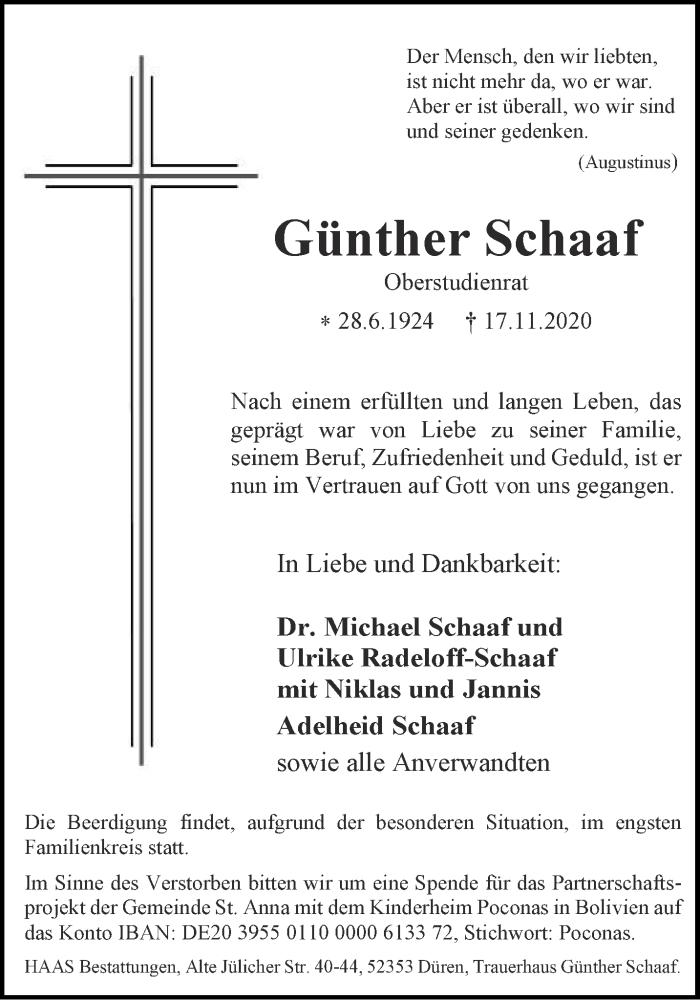 Traueranzeige für Günther Schaaf vom 21.11.2020 aus Aachener Zeitung / Aachener Nachrichten