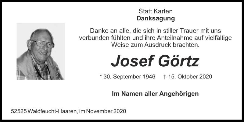 Traueranzeige für Josef Görtz vom 29.11.2020 aus Zeitung am Sonntag