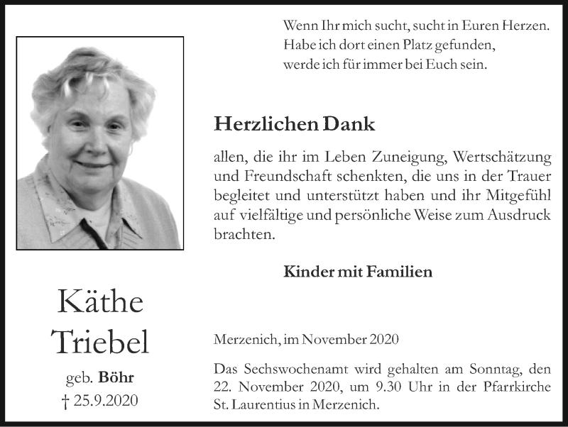 Traueranzeige für Käthe Triebel vom 15.11.2020 aus Zeitung am Sonntag