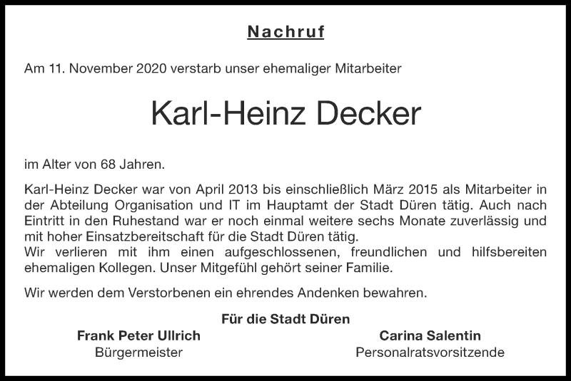 Traueranzeige für Karl-Heinz Decker vom 29.11.2020 aus Zeitung am Sonntag