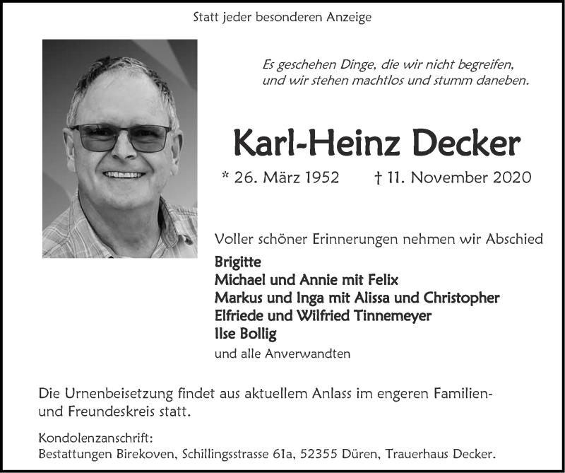 Traueranzeige für Karl-Heinz Decker vom 22.11.2020 aus Zeitung am Sonntag