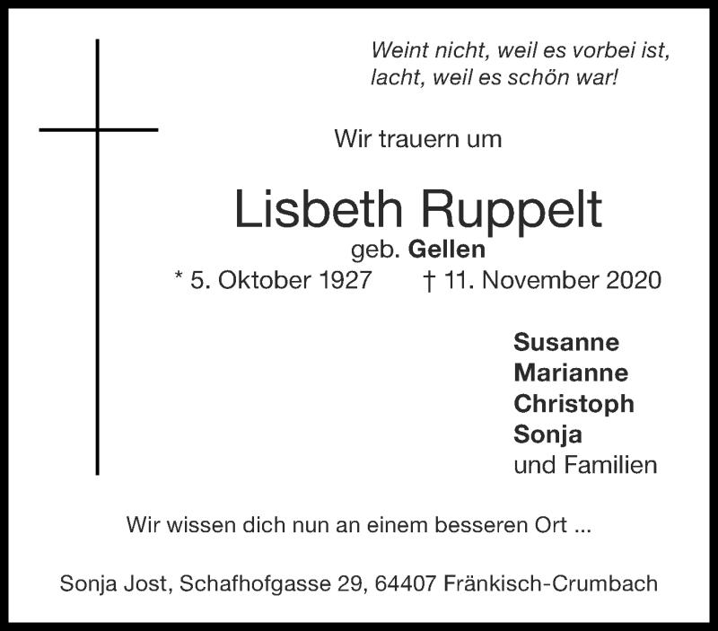 Traueranzeige für Lisbeth Ruppelt vom 21.11.2020 aus Aachener Zeitung / Aachener Nachrichten