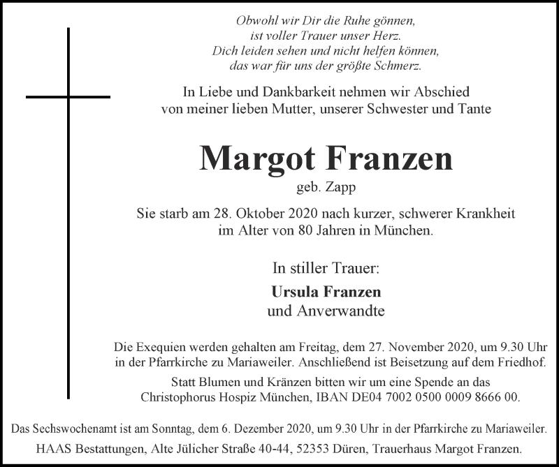 Traueranzeige für Margot Franzen vom 22.11.2020 aus Zeitung am Sonntag