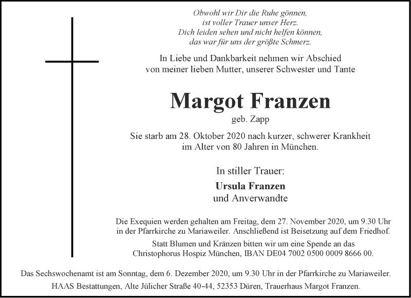 Traueranzeige für Margot Franzen vom 21.11.2020 aus Aachener Zeitung / Aachener Nachrichten