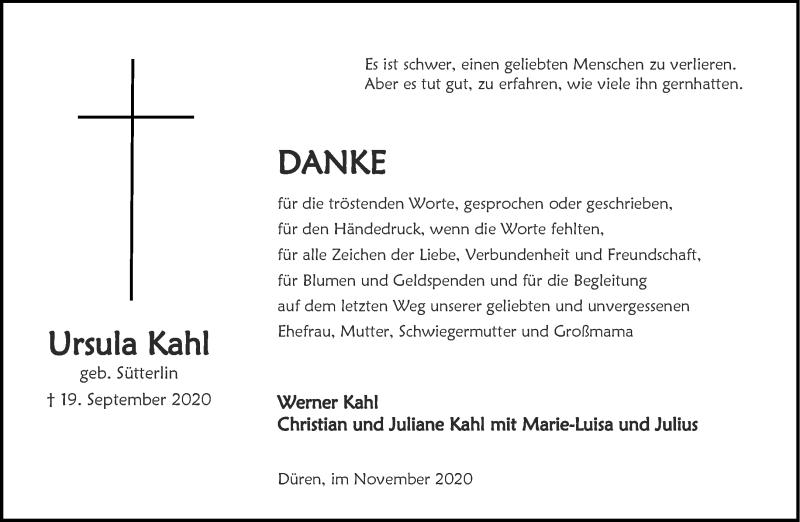 Traueranzeige für Ursula Kahl vom 21.11.2020 aus Aachener Zeitung / Aachener Nachrichten