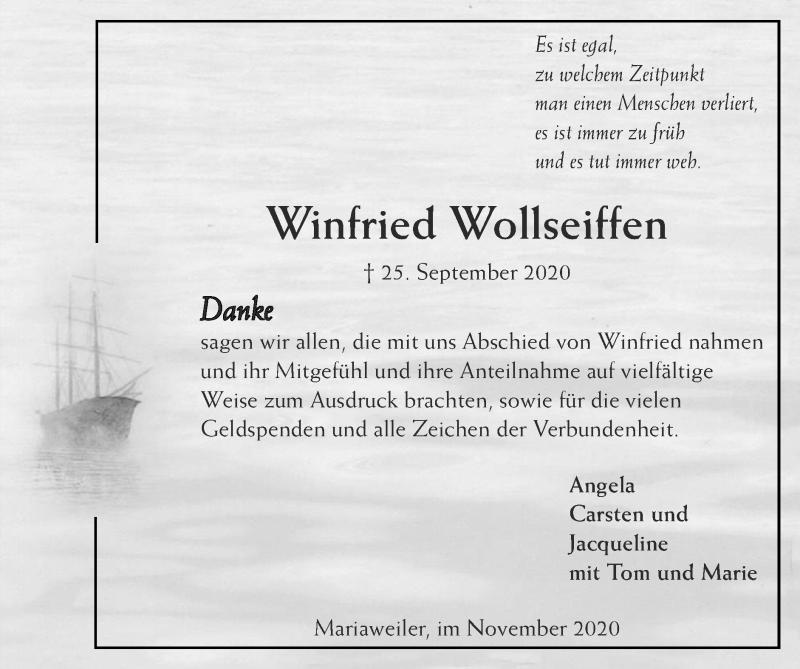 Traueranzeige für Winfried Wollseiffen vom 15.11.2020 aus Zeitung am Sonntag