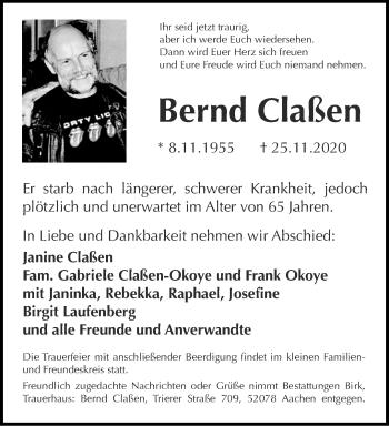 Traueranzeige von Bernd Claßen von Aachener Zeitung / Aachener Nachrichten