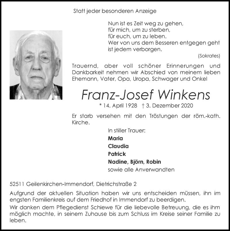 Traueranzeige für Franz-Josef Winkens vom 13.12.2020 aus Zeitung am Sonntag